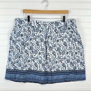 LOFT Linen Blend Floral Print Skirt in Blue and White Size  XL